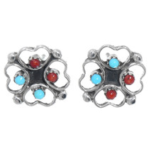 Turquoise Coral Silver Earrings 41208