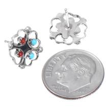 Four Heart Clover Leaf Design Zuni Turquoise Earrings 41208
