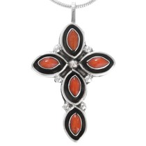 Zuni Sterling Silver Coral Cross Pendant 41211