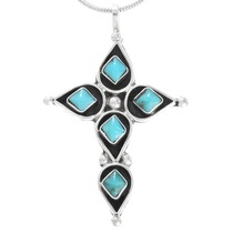 Zuni Sterling Silver Turquoise Cross Pendant 41211
