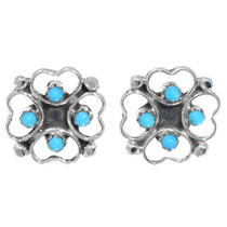 Native American Sterling Silver Turquoise Earrings 41213