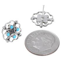 Zuni Turquoise Heart Earrings Artist Dorothy Natachu 41213
