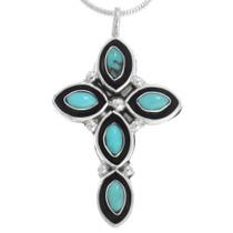 Zuni Turquoise Silver Cross Pendant 41214