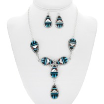 Zuni Turquoise Inlay Necklace Earrings Set 41216