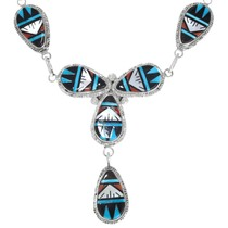 Geometric Zuni Pattern Spiny Oyster Shell Turquoise Necklace 41216