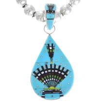 Native American Turquoise Micro Inlay Pendant 41217