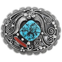 Handmade Natural Turquoise Coral Belt Buckle 29172