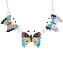 Zuni Inlay Carved Turquoise Gemstone Butterfly Jewelry Set 41219