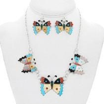 Colorful Gemstone Inlay Butterfly Necklace Earrings Set 41219