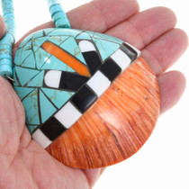 Inlaid Spiny Oyster Shell Pendant Necklace 41220