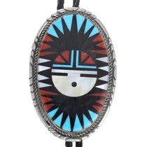 Turquoise Coral Inlay Zuni Sunface Bolo Tie 41221