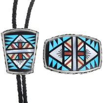 Geometric Zuni Inlay Matching Belt Buckle and Bolo Tie Set 41223