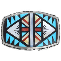 Native American Turquoise Shell Inlay Sterling Silver Buckle 41223