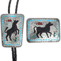 Sterling Silver Turquoise Horse Bolo Tie Belt Buckle Set 41225