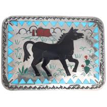 Matching Zuni Gemstone Inlay Horse Belt Buckle 41225