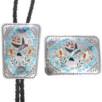 Zuni Inlaid Hummingbird Bolo Buckle Set 41227