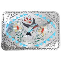 Sterling Silver Gemstone Hummingbird Design Zuni Belt Buckle 41227
