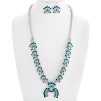 Turquoise Inlay Zuni Sunface Squash Blossom Necklace Set 41231