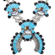 Turquoise Kachina Squash Blossom Necklace 41231