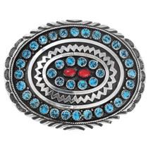 Navajo Sterling Silver Turquoise Belt Buckle 41233