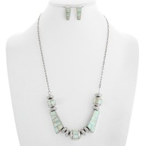 Sterling Silver Opal Necklace Earrings Set 41233