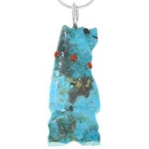 Zuni Carved Turquoise Bear Pendant 41238