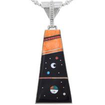 Gemstone Inlay Navajo Night Sky Pendant 41239