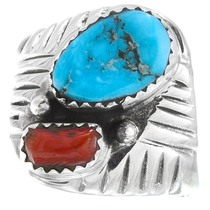 Sterling Silver Coral Turquoise Ring 41242