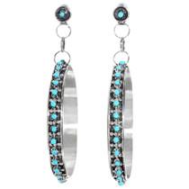 Sterling Silver Turquoise Hoop Earrings 41244