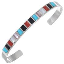 Colorful Multistone Sterling Silver Native American Cuff Bracelet 41247