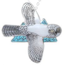 Turquoise Inlay Snow Owl Pendant Brooch Pin 41249