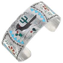 Zuni Inlay Desert Scene Roadrunner Bracelet 41252