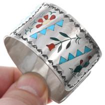 Vintage Sterling Silver Gemstone Inlay Native American Western Bracelet 41252