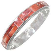 Sterling Silver Spiny Oyster Shell Inlay Bangle Bracelet 41253
