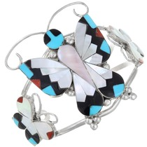 Turquoise Inlay Zuni Butterfly Cuff Bracelet 41258