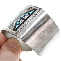 Gemstone Inlay Shell Turquoise Bracelet Zuni Geometric Design 41260