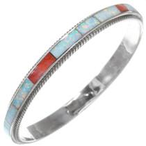 Sterling Silver Opal Inlay Bangle Bracelet 41264