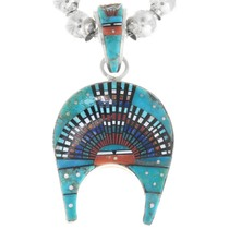 Turquoise Spiny Oyster Micro Inlay Native American Pendant 41217
