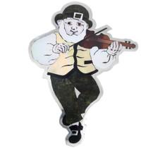 Large Zuni Sterling Silver Inlaid Irish Fiddle Player Brooch Pin 41274