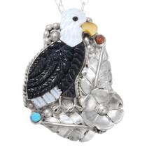 Zuni Carved Gemstone Bald Eagle Pendant 41274