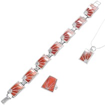 Sterling Silver Spiny Oyster Shell Tennis Bracelet Pendant Set 41271