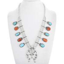 Navajo Turquoise Spiny Oyster Squash Blossom Necklace 41276