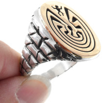 Navajo Man in the Maze Symbol Sterling Silver Gold Ring 41282 41282