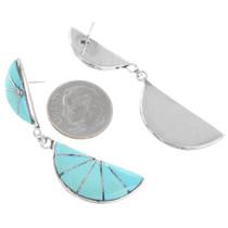Sterling Silver Turquoise Earrings Zuni Artist Kal Kallestewa Signed 41283