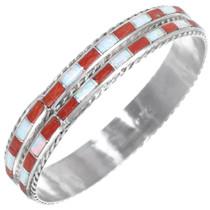 Zuni Gemstone Inlay Sterling Silver Bangle Hoop Bracelet 41284
