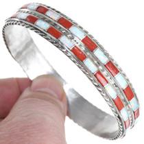 Sterling Silver Coral Opal Bangle Bracelet 41284