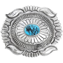 Natural Turquoise Sterling Silver Belt Buckle 41292