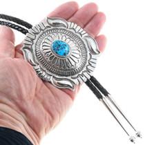 Arizona Turquoise Silver Concho Navajo Bolo Tie 25756