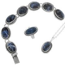 Vintage Sterling Silver Sodalite Bracelet Ring Pendant Set 41293