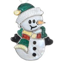 Zuni Multistone Inlay Snowman Pendant Brooch Pin 41294